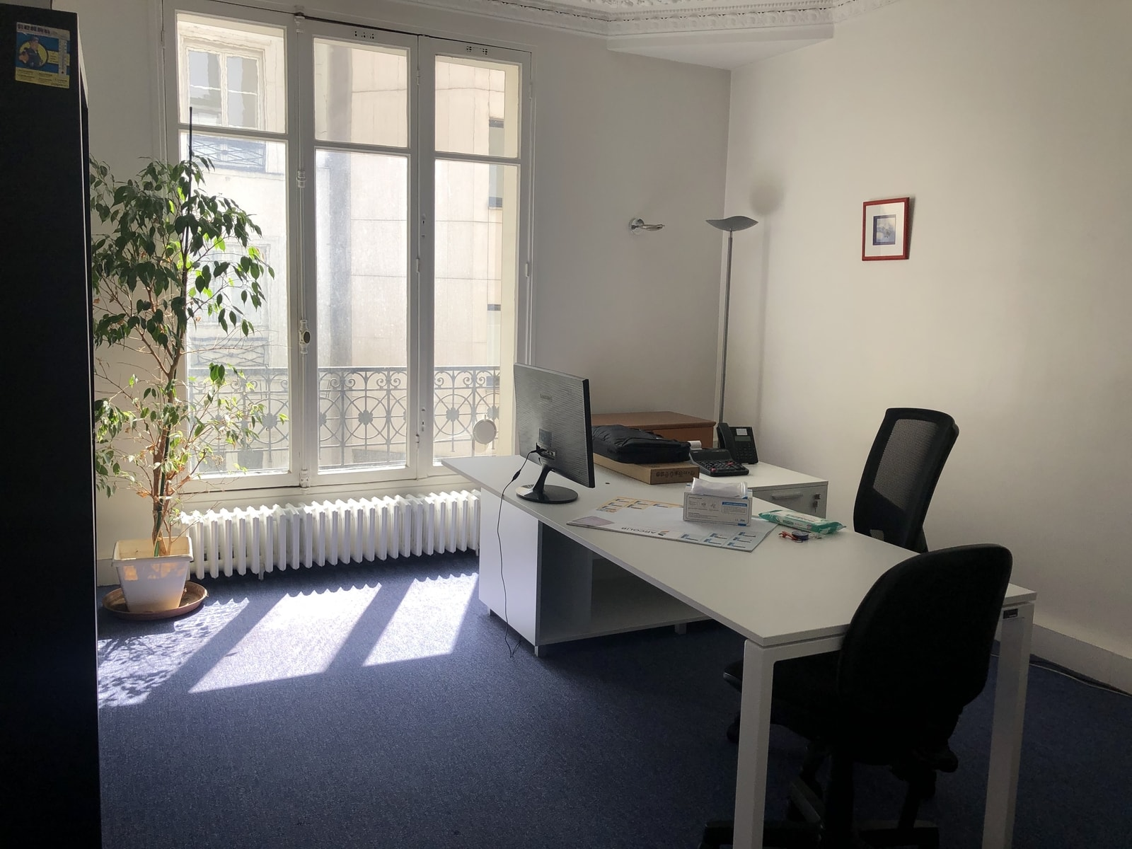Private office space with view in the courtyard
