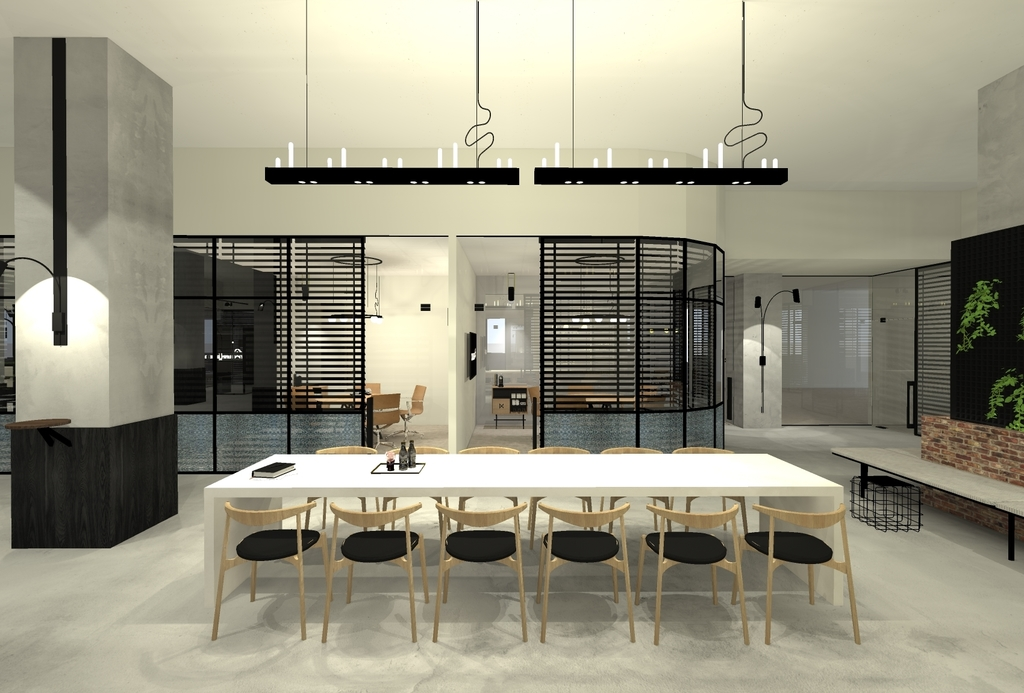 Lange tafel met stoelen geschikt voor vergaderingen en presentaties
